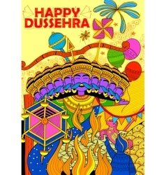Ravan dahan for dusshera celebration vector