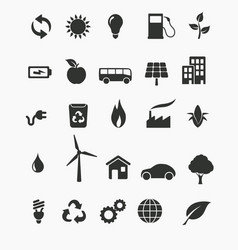 Renewable energy icon set vector