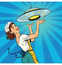 The waitress with UFO vector image vector image