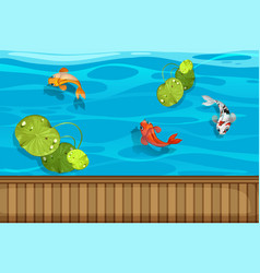 Three fish and waterlily in the pond vector