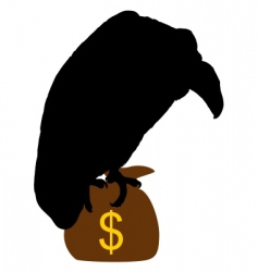 Vulture with moneybag vector