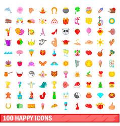 100 happy icons set cartoon style vector
