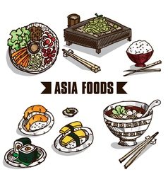 Fast food asia objects a vector