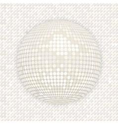 White disco ball on white mosaic background vector