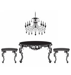 Vintage baroque luxury ornamented furniture set vector