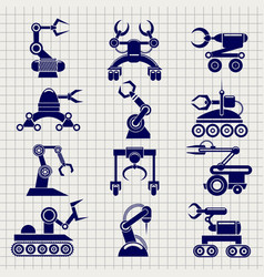 robot arms collection on notebook backround vector image