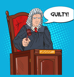 Pop art judge in courthouse striking the gavel vector