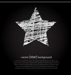 white drawn star on black background vector image