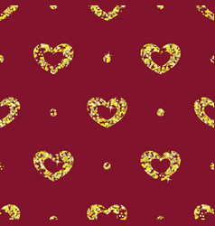 Seamless pattern with tinsels hearts vector