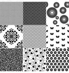 Set monochrome patterns vector image