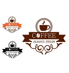 Coffee always fresh label vector