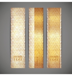 Set of golden banners vector