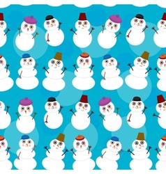 Seamless pattern cute cartoon snowmen on blue vector