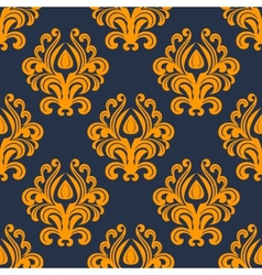 Retro orange floral seamless pattern vector