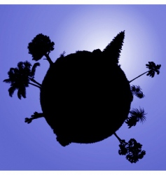 planet with plants vector