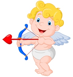 Funny little cupid aiming at someone vector