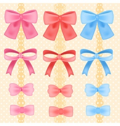 Cute silky or satin ribbon or bow in candy style vector