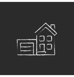 House with garage icon drawn in chalk vector