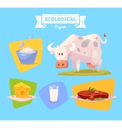 Farm animal and products made out of them vector
