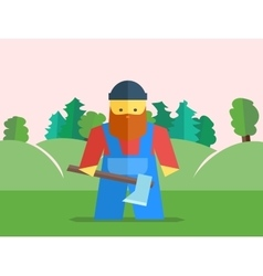 Lumberjack with axe vector