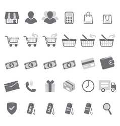 Gray shopping icon set vector