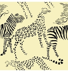Seamless pattern savanna animals vector