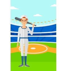 Baseball player with bat vector