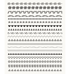 Hand drawn balck pattern brushes line vector