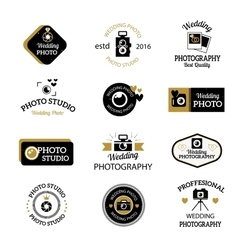 Photographer icons set vector