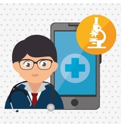 Doctor cellphone and microscope isolated icon vector