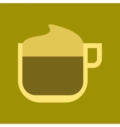 Flat icon on background coffee with milk cream vector