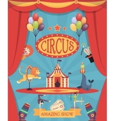 Amazing circus show poster vector