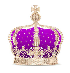 An of the royal golden crown with pearls and a vector