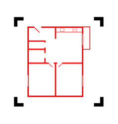 Apartment house floor plans red icon vector
