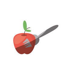 apple fork food picnic vector image vector image