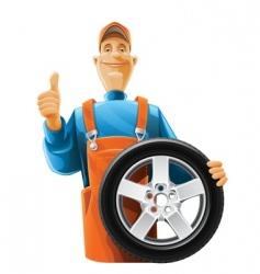 Auto mechanic with wheel vector