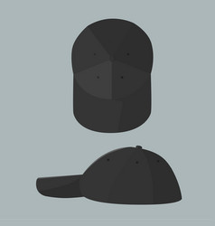 black cap with top and side view vector image