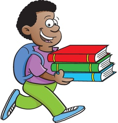 Cartoon Boy Carrying Books vector image vector image