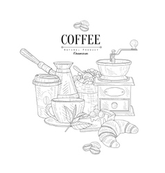 Coffee breakfast still life hand drawn realistic vector