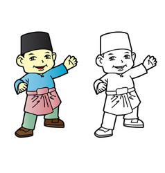 coloring melayu muslim boy - vector image