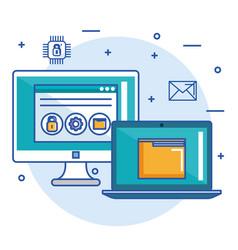 computer laptop folder file web site security vector image