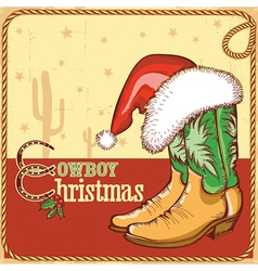 Cowboy christmas card with american boots and vector image