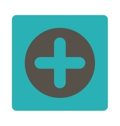 Create flat grey and cyan colors rounded button vector