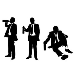 drunk businessmen with bottle vector image