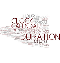 Duration word cloud concept vector
