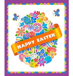 Easter Symbol Egg and Spring flower vector image vector image