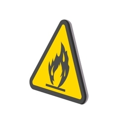 Fire warning sign cartoon icon vector image