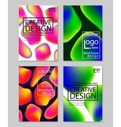 Fluid colors backgrounds set Holographic effect vector image