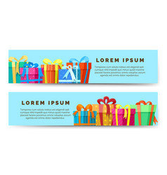 gift boxes horizontal banners vector image vector image
