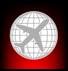 globe and plane travel vector image vector image